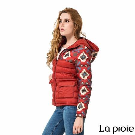 La proie 女 輕量菱格印花連帽羽絨外套(深紅)