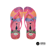 【QWQ】創意設計夾腳拖鞋-心心相印-粉(無鑽)