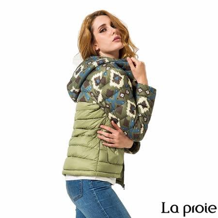 La proie 女 輕量菱格印花連帽羽絨外套(灰綠)