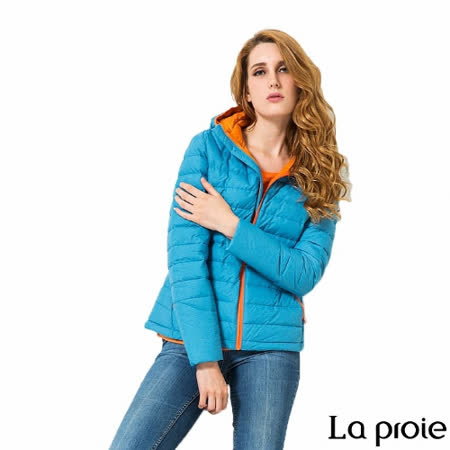 La proie 女 輕量連帽羽絨外套(海藍)