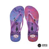 【QWQ】創意設計夾腳拖鞋-心心相印-紫(無鑽)