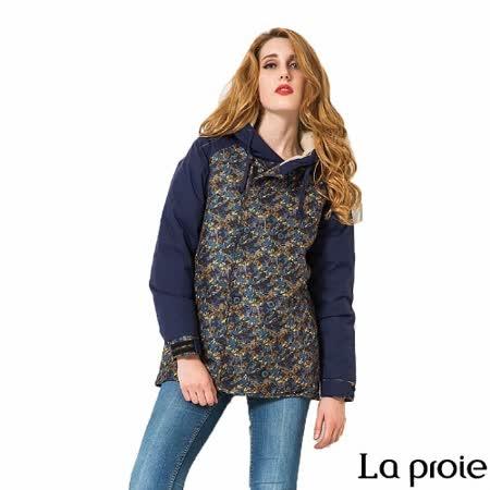 La proie 女 休閒暗印花羽絨外套大衣(花紋藍)