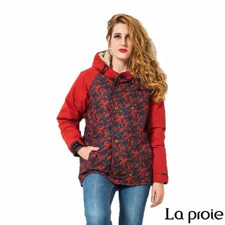 La proie 女 休閒暗印花羽絨外套大衣(花紋紅)