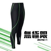 (男女) INSTAR 極速緊身長褲-緊身褲 台灣製 慢跑 路跑 內搭褲 黑螢光綠