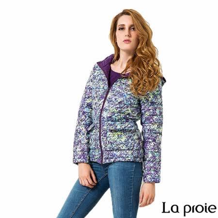La proie 女 輕量印花連帽羽絨外套(黃紫印花)