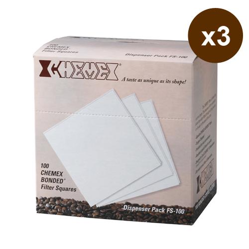 美國Chemex-咖啡濾壺 濾紙(3~6人份‧方形)100枚入X3組