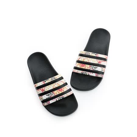 adidas(女)拖鞋-黑花-S75567