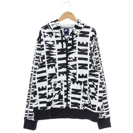 NIKE(女)棉質--運動外套(連帽)-黑白-725835010
