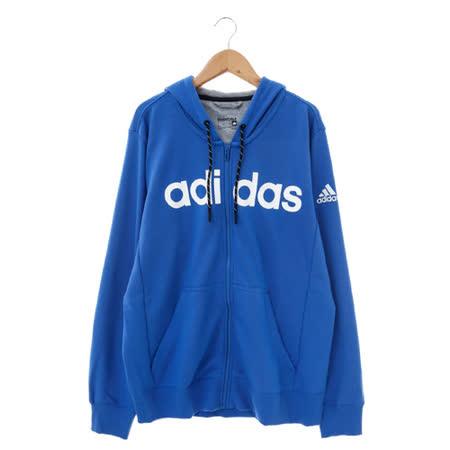 adidas(男)棉質--運動外套(連帽)-藍-AC4172