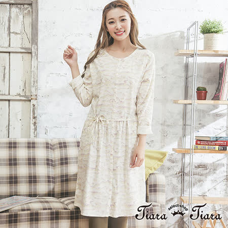 【Tiara Tiara】GO獨有 砂紋前排扣綁帶長袖洋裝(米)