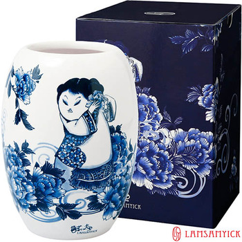 LSY林三益 【娉婷】青花胖娃娃筆插瓷瓶(白衣娃娃)