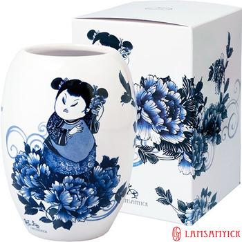 LSY林三益 【娉婷】青花胖娃娃筆插瓷瓶(青衣娃娃)