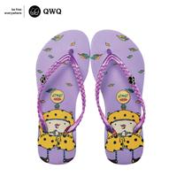 【QWQ】創意設計夾腳拖鞋-秋詩-粉(無鑽)