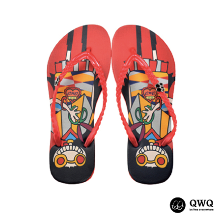 【QWQ】創意設計夾腳拖鞋-剪髮趣-紅(無鑽)