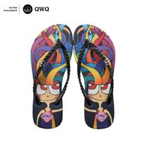 【QWQ】創意設計夾腳拖鞋-彩魔女-黑(無鑽)