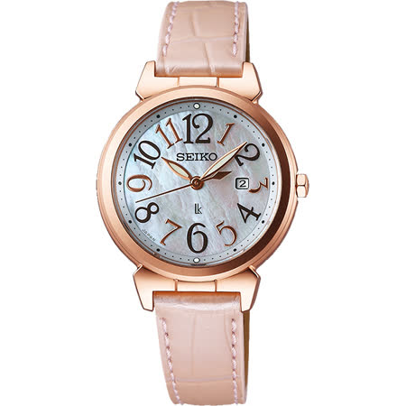 SEIKO LUKIA 太陽能甜美時尚腕錶-天然珍珠貝x粉/30mm V137-0BF0P(SUT190J1)