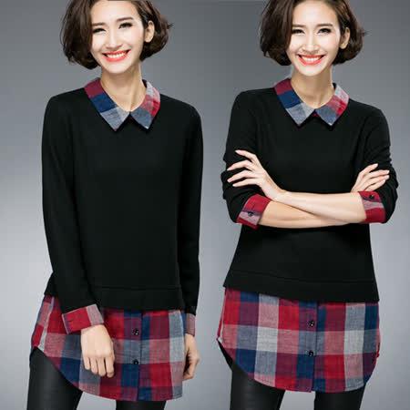 【麗質達人 中大碼】6052假二件格紋上衣(XL-4XL)