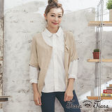 【Tiara Tiara】GO獨有 前排釦縫飾短袖針織罩衫(駝/藍/鮭魚)