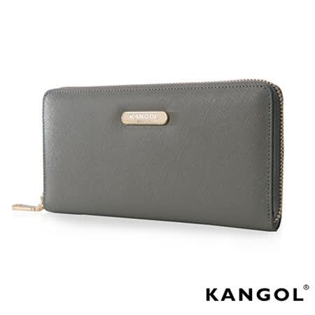 KANGOL 英式 優雅經典風華拉鍊長皮夾 十字紋頭層皮設計感-灰色KG1112-09