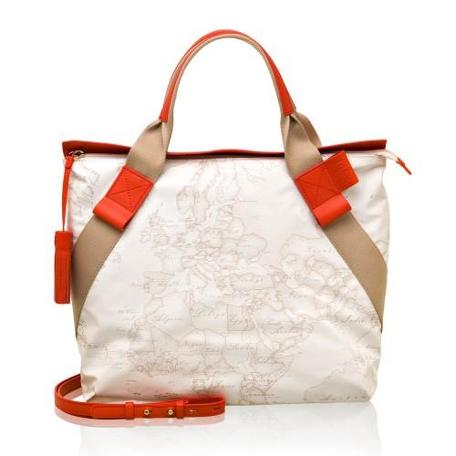 Alviero Martini 義大利地圖包 尼龍配皮織布手提側包~地圖白紅