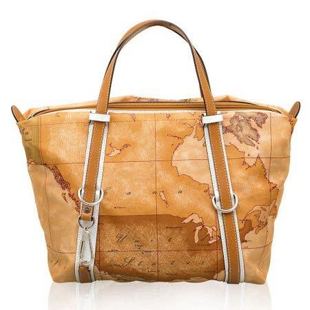 Alviero Martini 義大利地圖包 尼龍配皮手提肩背購物包(小)-地圖黃/白