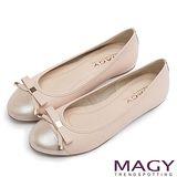 MAGY 清新氣質系女孩 織帶蝴蝶結雙皮質拼接娃娃鞋-粉紅
