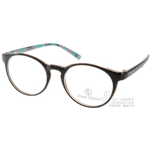 ALAIN DELON眼鏡 俏皮半圓框款(黑) #AD20282 B5