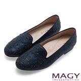 MAGY 甜美舒適 閃耀水晶鑽飾絨布樂福鞋-藍色