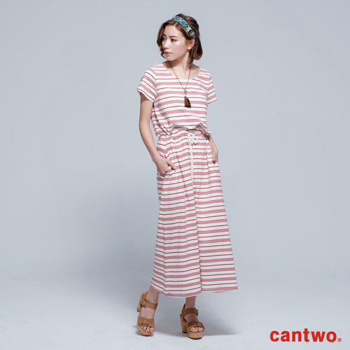 cantwo條紋抽繩短袖長洋^(共三色^)