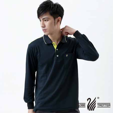 【遊遍天下】MIT台灣製男款抗UV涼爽吸濕排汗機能POLO長衫L003深藍