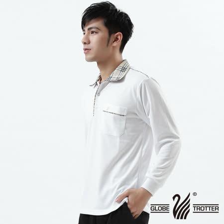 【遊遍天下】MIT台灣製男款抗UV涼爽吸濕排汗機能POLO長衫L101白色