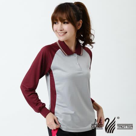 【遊遍天下】MIT台灣製女款抗UV吸濕排汗POLO長衫NL006灰/酒紅