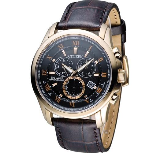 星辰 CITIZEN 光動能雙時區萬年曆限定腕錶 BL5542~07E 玫瑰金色