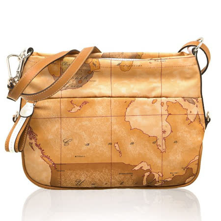 Alviero Martini 義大利地圖包 尼龍拉鍊側背包-地圖黃/白+棕