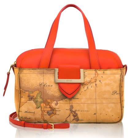 Alviero Martini 義大利地圖包 方扣配飾手提側背波士頓包(小)-地圖黃/紅