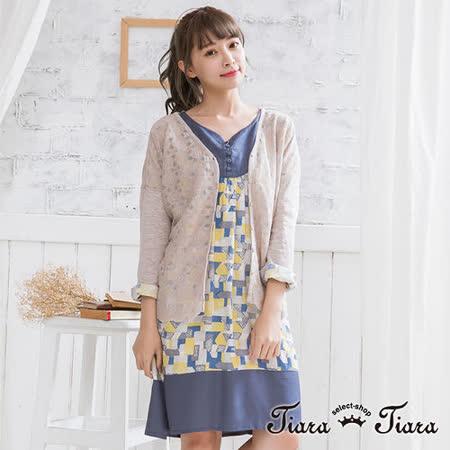 【Tiara Tiara】假兩件式手繪風格紋長袖洋裝(灰/藍)
