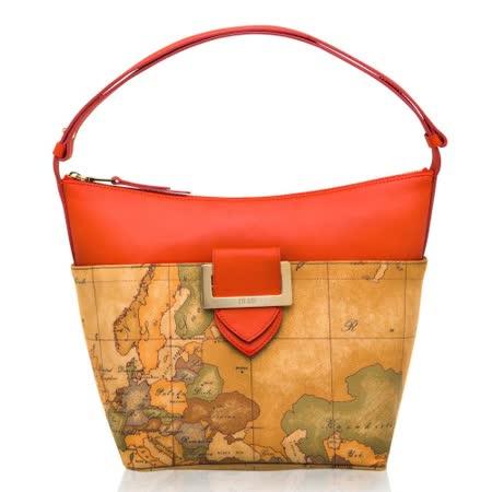 Alviero Martini 義大利地圖包 方扣配飾拉鍊肩側背包-地圖黃/紅