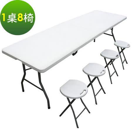 【好物推薦】gohappy【環球】寬240公分-對疊折疊桌椅組/餐桌椅組/戶外桌椅組(1桌8椅)好用嗎大 遠 百 高雄 周年 慶