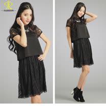 玄太-氣質典雅蕾絲假兩件洋裝(黑/白)