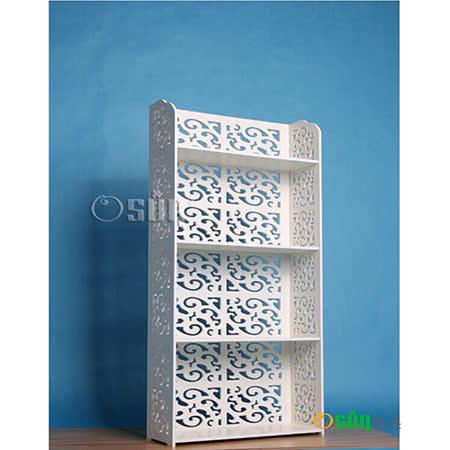 【Osun】DIY木塑板置物架 歐式白色雕花四層巴洛克經典款(CE-178-12060)