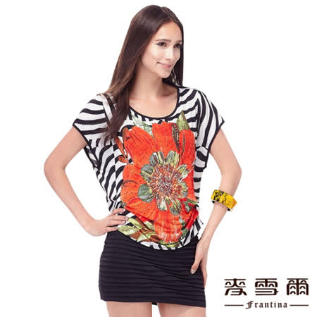 【麥雪爾.娜】圓領條紋花朵拼接洋裝