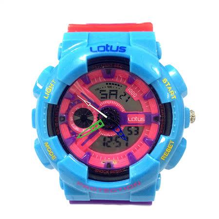 LOTUS 樂高配色運動時尚電子腕錶-52mm/防水/禮物/G-SHOCK/現貨/LS-1026-06