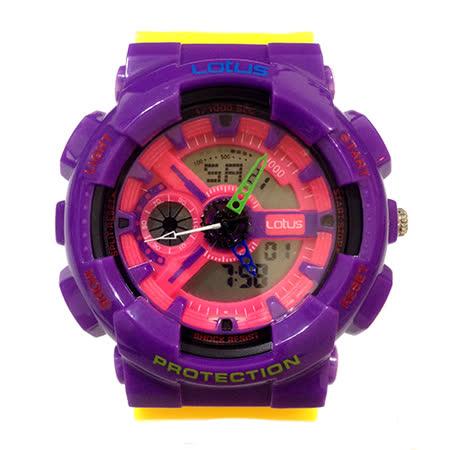 LOTUS 樂高配色運動時尚電子腕錶-52mm/防水/禮物/G-SHOCK/現貨/LS-1026-07