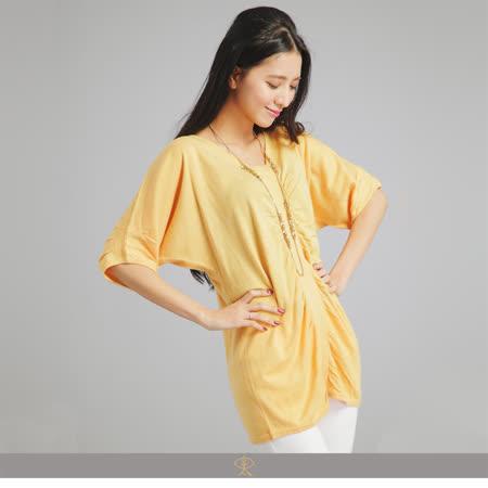 玄太-休閒連身袖棉質針織衫(黃/粉/藍)