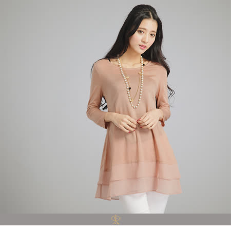 玄太-甜美拼接層次七分袖上衣(粉/綠)