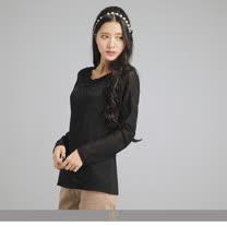 玄太-雅蕾絲拼接彈性接袖上衣(黑)