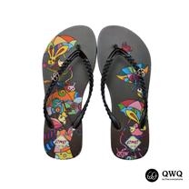 【QWQ】創意設計夾腳拖鞋-傘花-咖啡(無鑽)