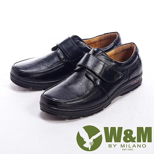 W M^(男^)真皮輕鬆魔鬼氈休閒男鞋皮鞋~黑