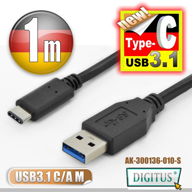 曜兆DIGITUS USB 3.1 Type-C 轉 A (公)互轉線-1公尺