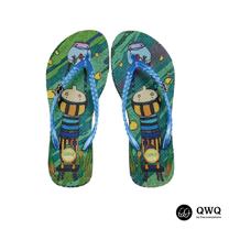 【QWQ】創意設計夾腳拖鞋-水中魚缸-藍(無鑽)